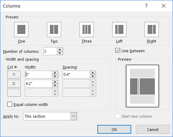 how to get two columns in a word publisher document