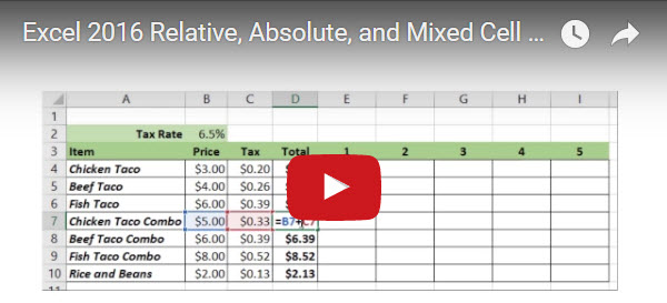 mixed cell reference excel 2016